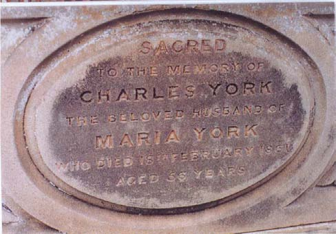 A close-up of the inscription on Charles and Maria's headstone.